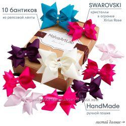 Бантики для волос, резинки, заколки, набор Бантиков на подарок 10 шт.