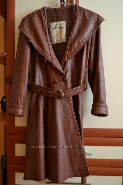 Кожаный  винтажный плащ Vera Pelle style in Valentino