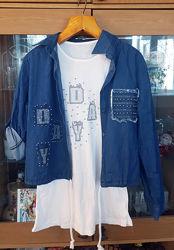 Комплект 2ка джинсовка, джинсовая куртка и футболка без рукавов со стразами