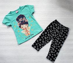 комплект для девочек футболка с шортами-трессами 2-5 лет Турция