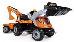 Трактор Smoby Max з педальками, 2 ковши, причеп 710110