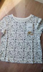 Белая футболка C&A, принт собачки