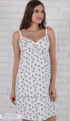 Ночная рубашка для беременных и кормления, хлопок, тонкие бретели