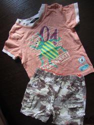 Класнючий летний комплект с жуком и гитара, футболка и шорты, на 1, 5-4 год