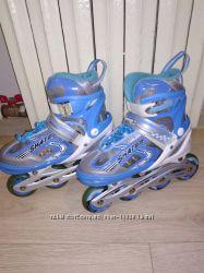 Раздвижные роликовые коньки тм Аmigosport  р. 35-38 с светящимися колёсами.