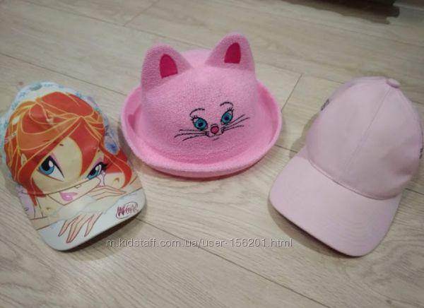 Шляпка-котик с ушками и кепочки для девочки р. 50-52