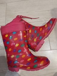 Утеплённые резиновые сапоги для девочки стелька  18см