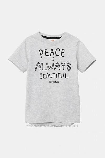 футболка удлиненная h&m 2-4, 4-6, 6-8  лет