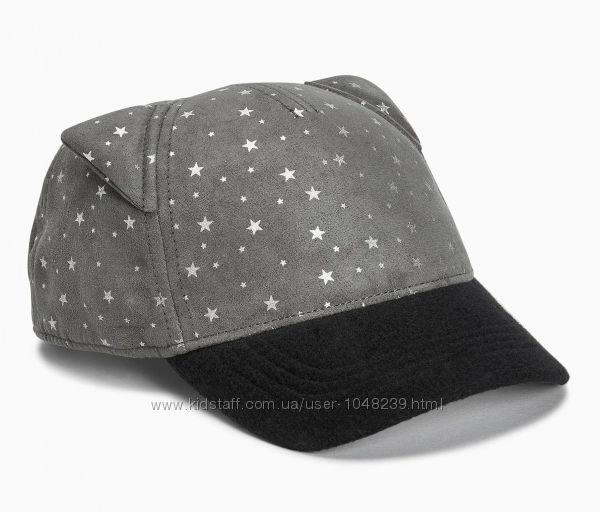 Серая кепка NEXT некст с ушками и принтом звёзд, в новом состоянии