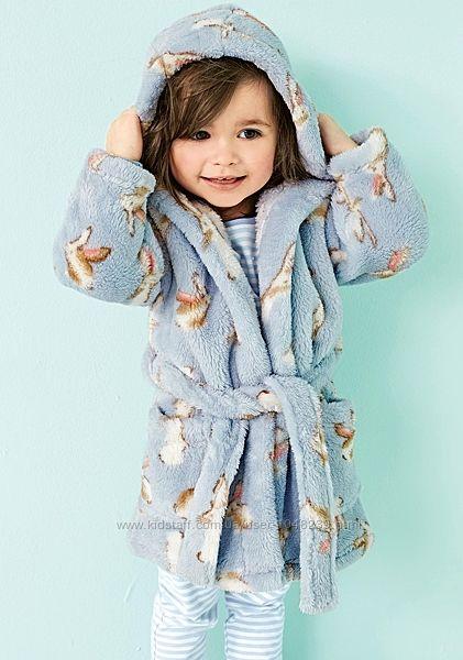Махровый халат NEXT некст с кроликами, размер 6-7 лет