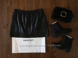 Кожаная мини юбка Mango
