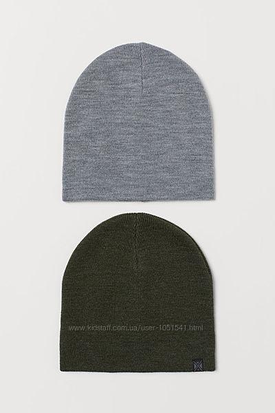 Трикотажные вязаные шапки от h&m на 4-8 лет
