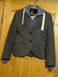 Теплая короткая серая шерстяная куртка со съемной манишкой Superdry Великоб