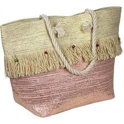 Яркая пляжная сумка голубая, розовая. новинка
