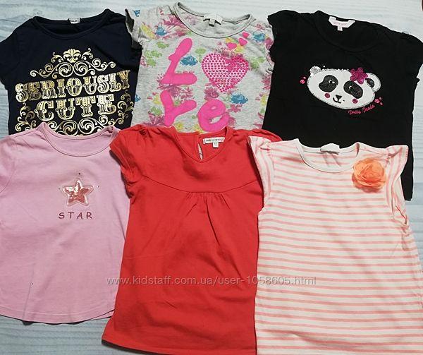 Фирменные футболки на девочку 5-6 лет, пакет футболок на девочку