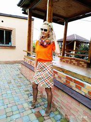 Теплая шерстяная юбка клетка united colors of benetton