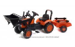 Детский Трактор на педалях с прицепом с ковшом FALK 2065AM KUBOTA оранжевый