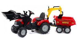 Трактор-экскаватор на педалях с прицепом, передним и задним ковшом 995W