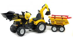 Детский трактор на педалях с прицепом, передним и задним ковшом Falk 1000WH