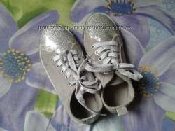 Текстильные серебристые блестящие кеды мокасины девочке 32р19см