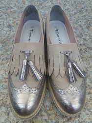 Лоферы женские туфли tamaris р.38-39, натуральная кожа, цвет золото