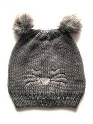 Детская двойная шапочка с мордашкой и двумя помпонами, Takko Fashion, 8-15