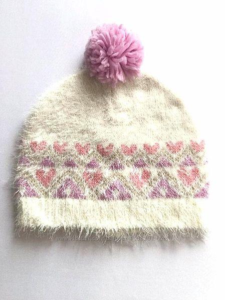 Мягкая детская шапка бини травка с помпоном на девочку, C&A, 56-58