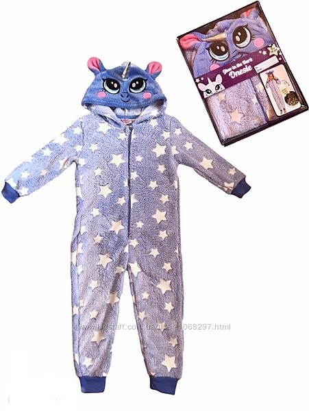 Плюшевый камбинизон. кингуруми пижама, светится в темноте, единорог, 98-104