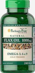 Витамины Puritans Pride  Natural Flax Oil 1000 mg 240 капсул Льняное масло