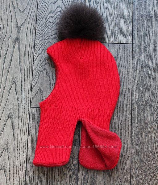 Зимний шлем для девочки с натуральным песцовым помпоном , на ог 50 см