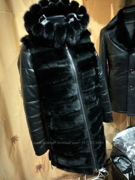 Теплая зимняя куртка с норкой, кожаная куртка с капюшоном и натуральным мех