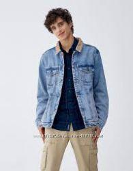 Крутая мужская куртка-джинсовка Pull&Bear - Л - на М, Л
