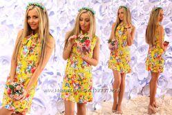Цветастые платья лен