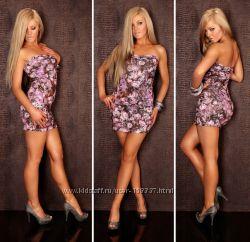 Платье мини в цветочек