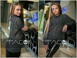 Блузка черная в горошек