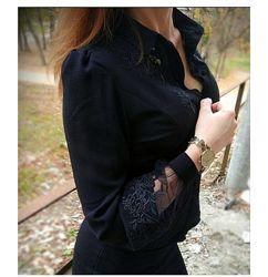 Блузка черная с красивыми рукавами фонариками