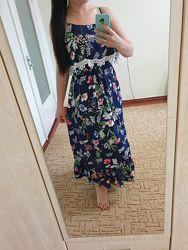 Платье, сарафан с цветочным принтом.50р. XL.