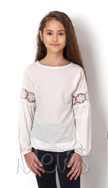 Нарядная блузка с кружевом Mevis 2829 молочная