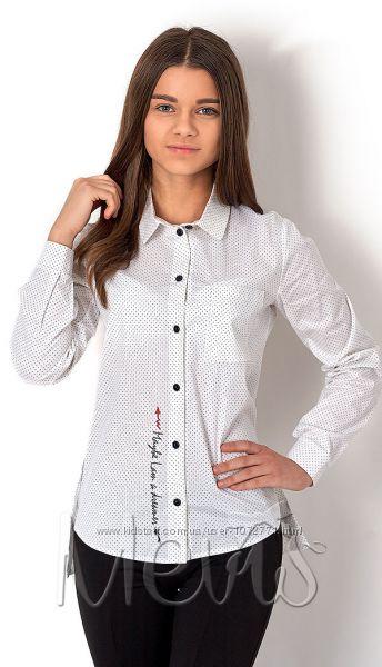 Стильная рубашка для девочки Mevis 2643-02 белая