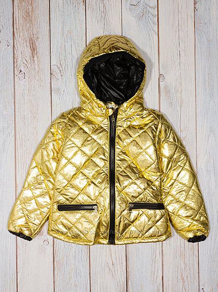 Стёганая куртка для девочки - золотой металлик 22350