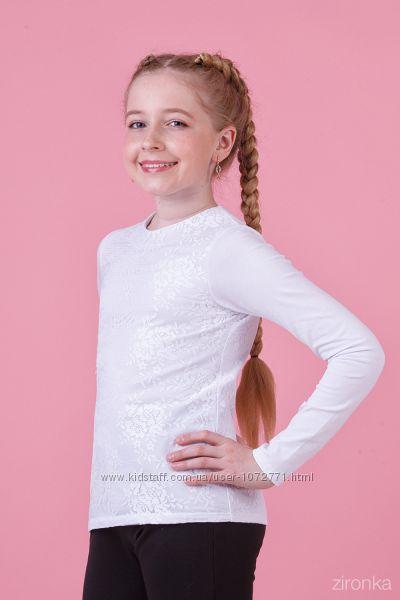 Блузка трикотажная с длинным рукавом Zironka белая 26-8042-1