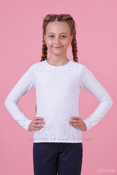 Блузка трикотажная с длинным рукавом Zironka белая 26-8026-1