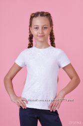 Блузка трикотажная с коротким рукавом Zironka белая 26-8056-1