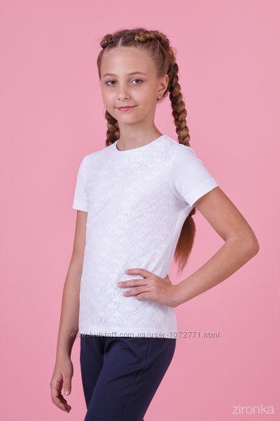 b8a9e809521 Блузка трикотажная с коротким рукавом Zironka белая 26-8054-1