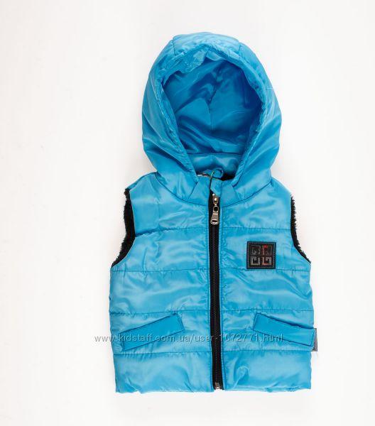Жилетка для мальчика Одягайко голубая 7266 - размеры 68-86