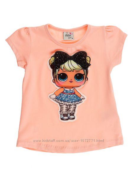 Футболка для девочки Barmy LOL персиковая и голубая 0133