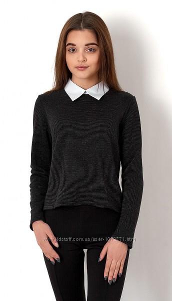 Джемпер-обманка для девочки Mevis черный и серый 2704