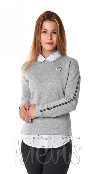 Джемпер обманка для девочки Mevis серый 2980-01