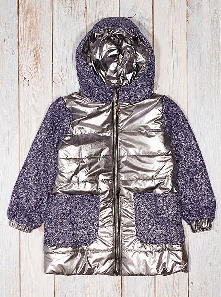Куртка демисезонная для девочки Одягайко темное серебро 22361