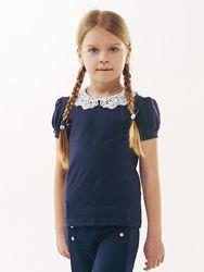 Блуза трикотажная с натуральным кружевом и коротким рукавом SMIL 114637